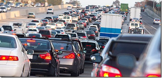 A traffic jam on the 5 freeway heading south in Orange County California.