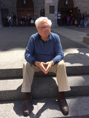 A few years ago, Dad and I took Sammy and his family for a tour of Old Montreal. While they went into the basilica, we waited outside. This is what Esti calls his 'I've walked a lot and I am happy to sit down for a bit' pose!